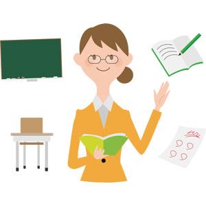 フリーイラスト, ベクター画像, AI, 人物, 女性, 仕事, 職業, 教師(先生), 学校, 勉強机, 黒板, ノート, テスト, 答案用紙
