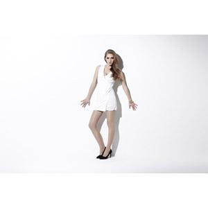 フリー写真, 人物, 女性, 外国人女性, ドレス, 白背景, 女性(00166)