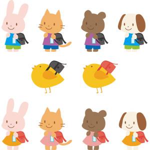 フリーイラスト, ベクター画像, AI, 動物, 兎(ウサギ), 犬(イヌ), 猫(ネコ), 熊(クマ), ひよこ(ヒヨコ), ランドセル