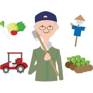 フリーイラスト, ベクター画像, AI, 人物, シニア男性, 祖父(おじいさん), 農業, 農家(農民), 鍬, 野菜, トラクター, 案山子, 作物