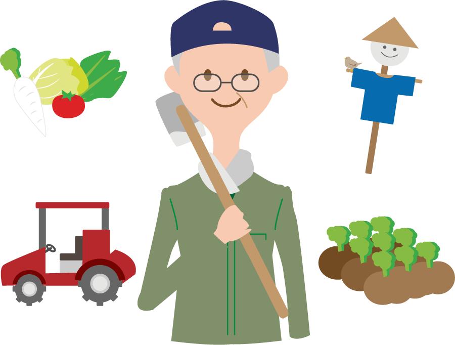 フリーイラスト 農家と農業関連のセット