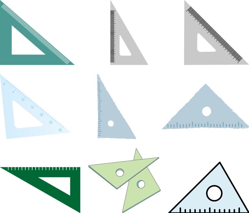 フリーイラスト 9種類の三角定規のセット