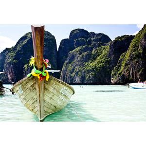 フリー写真, 風景, 海, 岩山, 乗り物, 船, 手漕ぎボート, タイの風景, ピーピー諸島