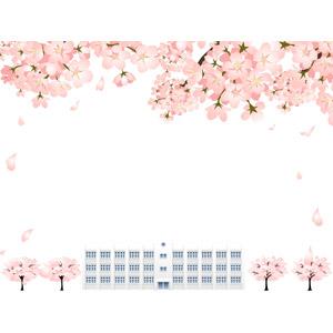 フリーイラスト, ベクター画像, AI, 背景, フレーム, 囲みフレーム, 花, 桜(サクラ), ピンク色の花, 学校, 校舎, 春