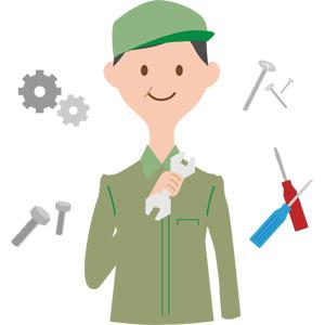 フリーイラスト, ベクター画像, AI, 人物, 男性, 職業, 仕事, 整備士, 作業着, 作業員, 工具, ねじ回し(ドライバー), ネジ, スパナ, 歯車, ボルト, 機械要素, 修理, 整備(メンテナンス)