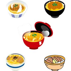 フリーイラスト, ベクター画像, AI, 食べ物(食料), 料理, 日本料理, 肉料理, 丼物, かつ丼(カツ丼), 豚カツ(とんかつ)