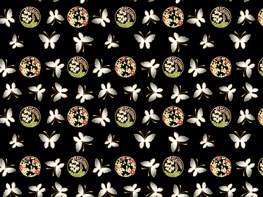 フリーイラスト 蝶と藤と梅の和柄背景