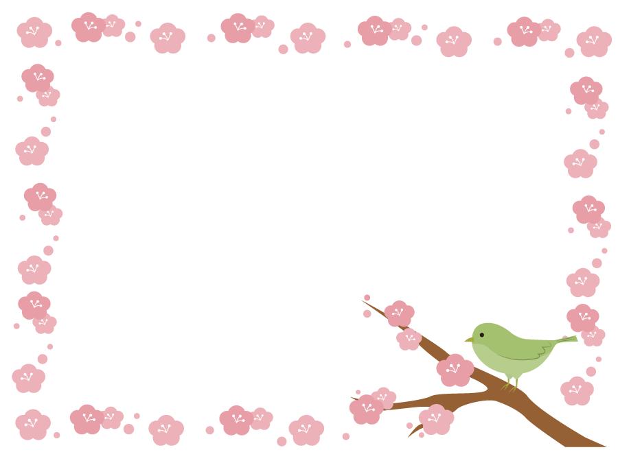 フリーイラスト うぐいすとうめの花の飾り枠