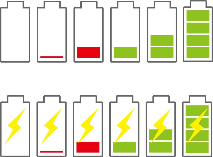 フリーイラスト 12種類のバッテリー残量のアイコンセット