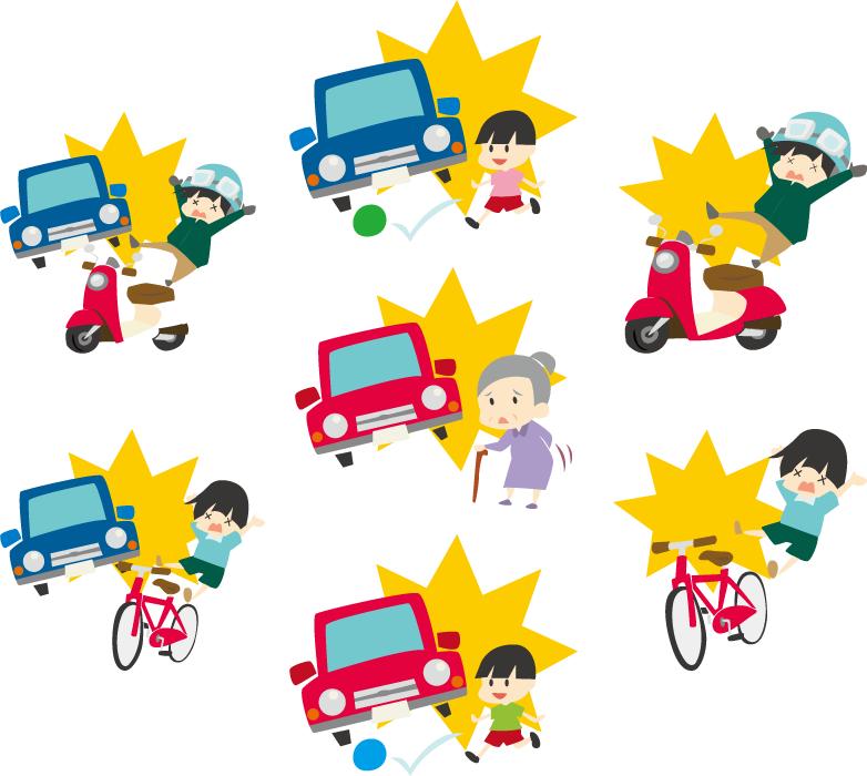 フリーイラスト 7種類の交通(人身)事故のセット