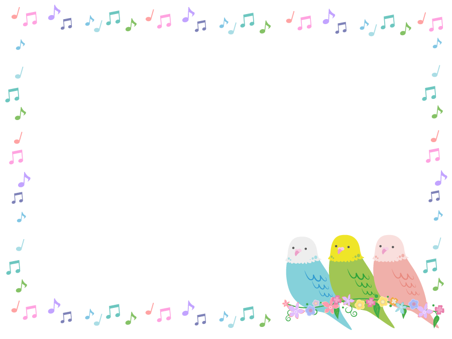 フリーイラスト インコとカラフルな音符の飾り枠