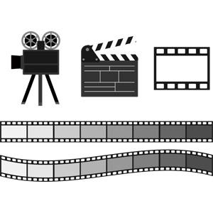 フリーイラスト, ベクター画像, AI, 映画, 飾り罫線(ライン), 映画フィルム, 映画, 映写機, カチンコ