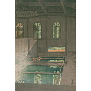 フリー絵画, 川瀬巴水, 浮世絵, 風景画, 建造物, 建築物, 温泉, 入浴, 群馬県, 日本の風景