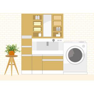 フリーイラスト, ベクター画像, EPS, 風景, 部屋, 洗面所(脱衣所), 洗面台, 洗濯機, 観葉植物
