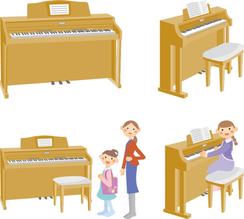 フリーイラスト 4種類の電子ピアノのセット