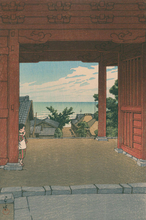 フリー絵画 川瀬巴水作「房州浜萩多聞寺」