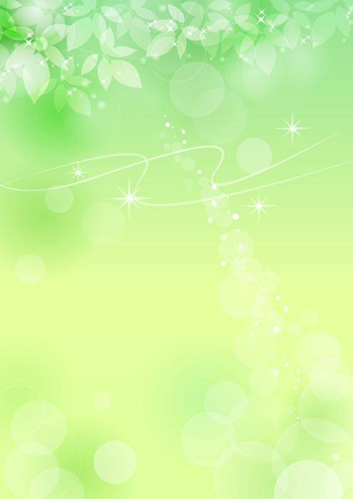 フリーイラスト 新緑の葉と光の玉ボケの背景