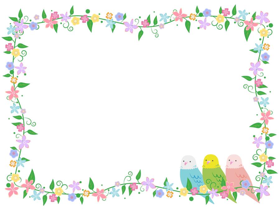 フリーイラスト インコと花の囲みフレーム