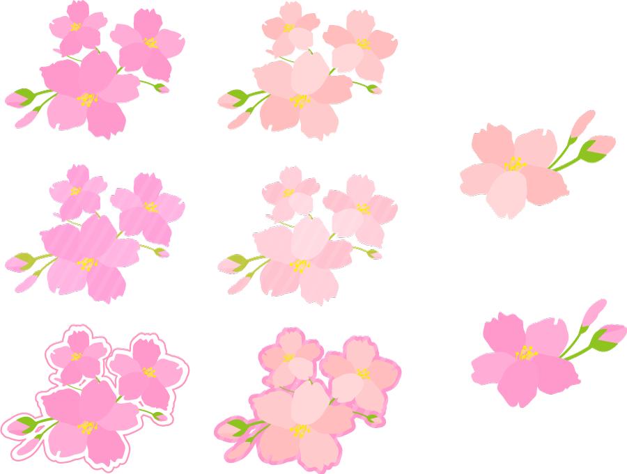 フリーイラスト 8種類のさくらの花と蕾のセット