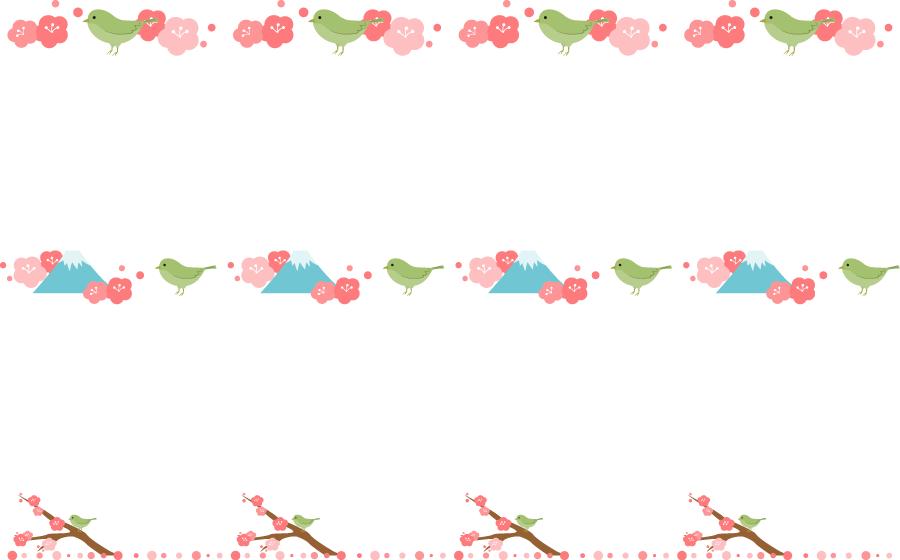 フリーイラスト 3種類の鶯と梅の花の飾り罫線