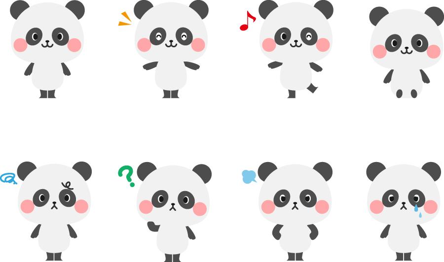 フリーイラスト 8種類のいろいろな表情のパンダのセット