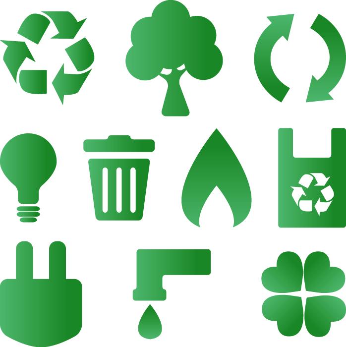フリーイラスト リサイクルマークなどの10種類のエコロジー関連アイコンのセット