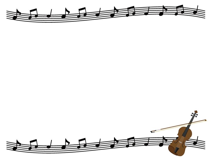 フリーイラスト バイオリンと楽譜の飾り枠