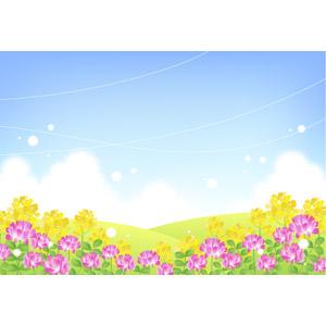 フリーイラスト, ベクター画像, AI, 風景, 自然, 植物, 花, 菜の花(アブラナ), 蓮華草(レンゲソウ), 丘, 青空