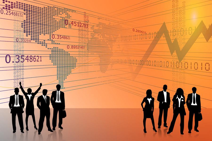 フリーイラスト 世界地図とグラフとビジネスパーソン