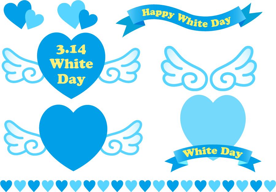 フリーイラスト エンジェルハートや帯リボンなどのホワイトデーの飾りのセット
