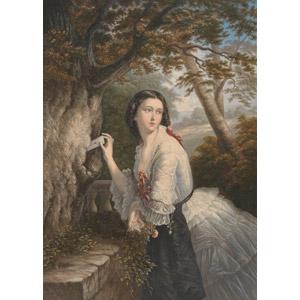 フリー絵画, ジョージ・バックスター, 人物画, 女性, 外国人女性, ラブレター, 手紙