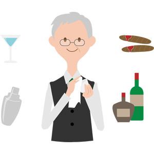 フリーイラスト, ベクター画像, AI, 人物, シニア男性, 仕事, 職業, バーテンダー, シェイカー(シェーカー), 酒場(バー), 飲み物(飲料), お酒, カクテル, 葉巻, 瓶(ボトル)
