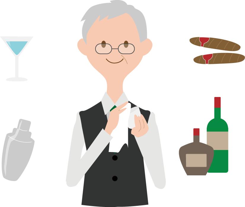 フリーイラスト バーテンダーとお酒関連のセット