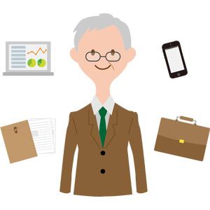 フリーイラスト, ベクター画像, AI, 人物, シニア男性, 仕事, 職業, ビジネス, ビジネスマン, サラリーマン, ノートパソコン, グラフ, データ, 書類, スマートフォン(スマホ), ブリーフケース