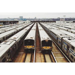 フリー写真, 風景, 車両基地, 乗り物, 列車(鉄道車両), 電車, アメリカの鉄道車両, アメリカの風景, ニューヨーク