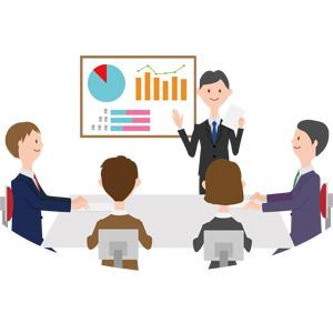 フリーイラスト, ベクター画像, AI, 人物, 集団(グループ), 職業, 仕事, ビジネス, ビジネスマン, サラリーマン, 仲間, 会議(ミーティング), 五人, データ, グラフ, プレゼンテーション, 座る(椅子)