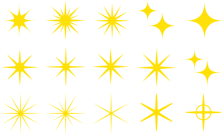 フリーイラスト 15種類の輝いている星の光のセット