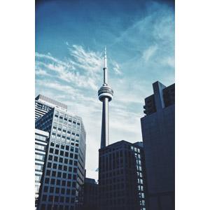フリー写真, 風景, 建造物, 建築物, 塔(タワー), CNタワー, 高層ビル, カナダの風景, トロント, 青空