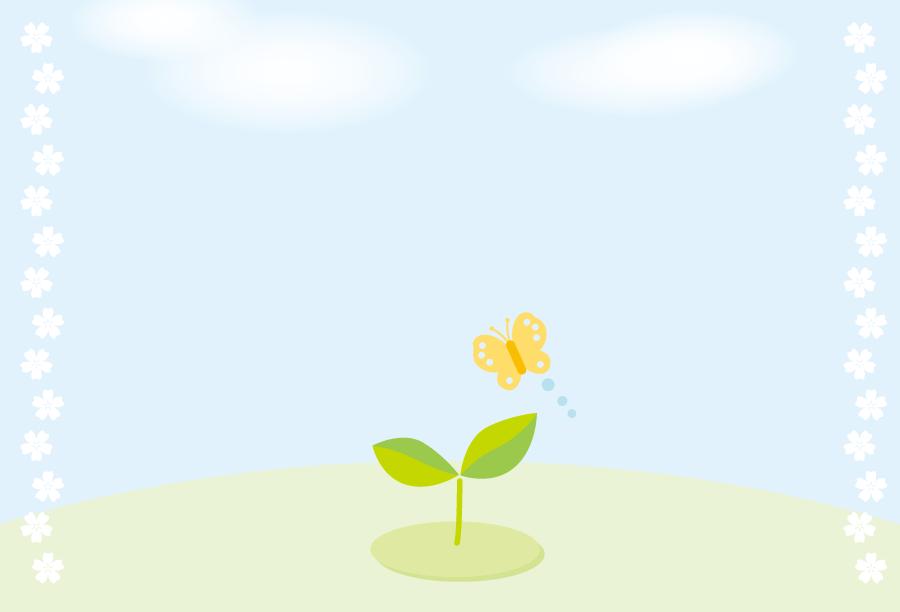 フリーイラスト 双葉の芽と蝶と青空の背景