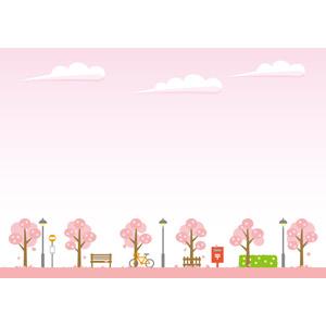 フリーイラスト, ベクター画像, EPS, 風景, 空, 樹木, 桜(サクラ), 春, ピンク色, 街灯, ベンチ, 停留所, 郵便ポスト, 街(町), 自転車