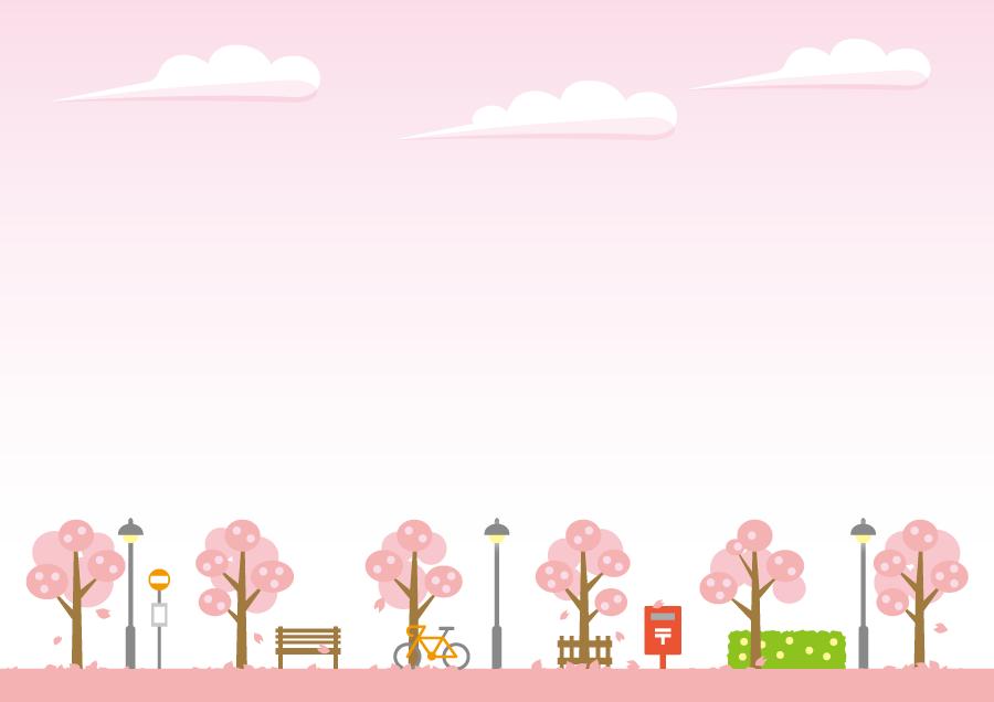 フリーイラスト 散りゆく桜並木と空の風景