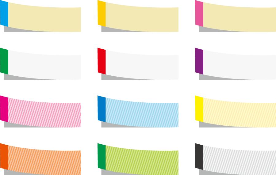 フリーイラスト 12種類の付箋のセット