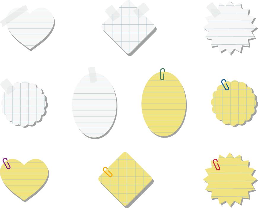 フリーイラスト 10種類のメモ用紙のセット