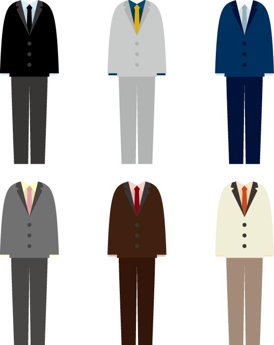 フリーイラスト 6種類のメンズスーツのセット