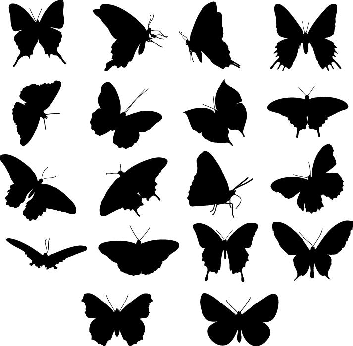 フリーイラスト 18種類の蝶のシルエットのセット