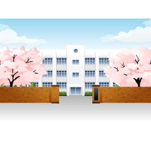 フリーイラスト, ベクター画像, AI, 風景, 建造物, 建築物, 学校, 校舎, 樹木, 桜(サクラ), 春