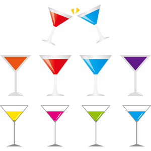 フリーイラスト, ベクター画像, AI, 飲み物(飲料), お酒, カクテル, カクテルグラス, 乾杯