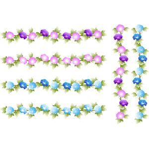 フリーイラスト, ベクター画像, AI, 飾り罫線(ライン), 植物, 花, 朝顔, 朝顔(アサガオ), 夏