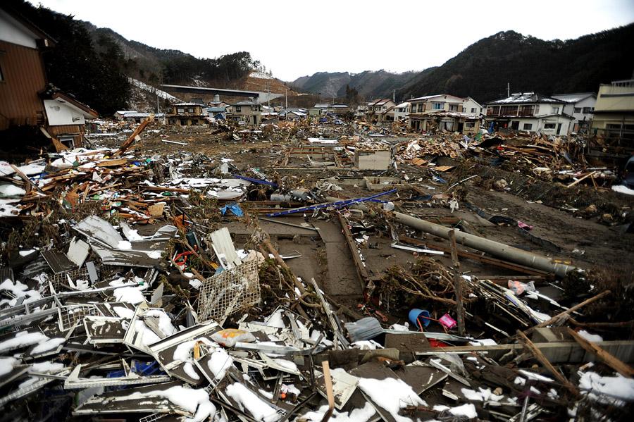 フリー写真 東日本大震災の被害を受けた岩手県釜石市鵜住居町