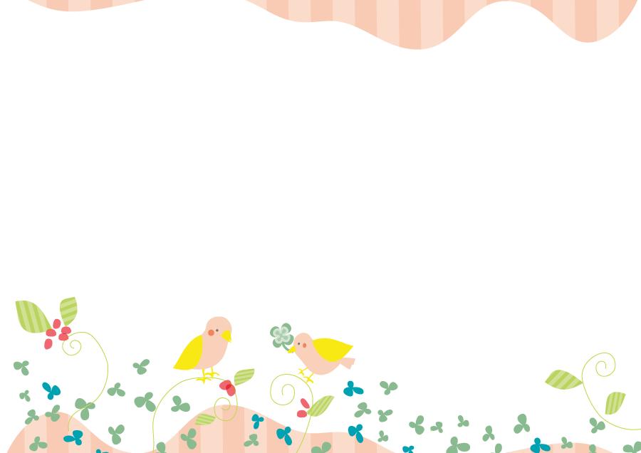 フリーイラスト 小鳥とクローバーの飾り枠